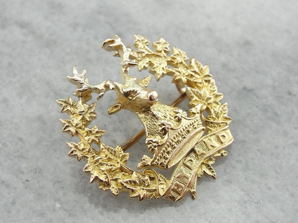 Gordon Highlanders Stag Brooch, BYDAND