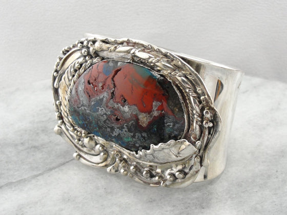 Enormous Chrysocolla, Jasper, and Quartz Cuff Bracelet with Handmade Abstract Bezel