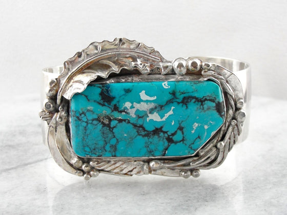 Handmade Botanical Themed Turquoise Cuff Bracelet, Large Statement Cuff