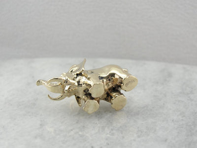 Lucky Elephant, Solid Gold Elephant Pendant