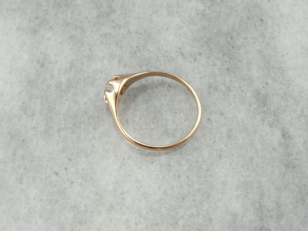 Victorian Belcher Set Diamond Ring, Warm, Polished Yellow Gold