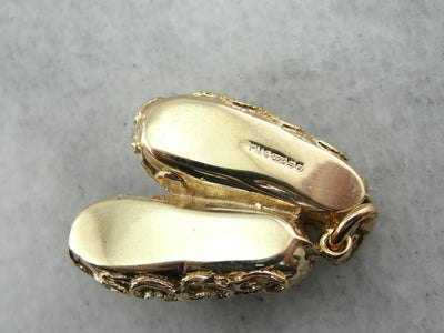 Ornate Gold Slippers Charm or Pendant