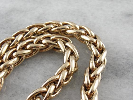 Substantial Polished Gold Wheat Chain Necklace