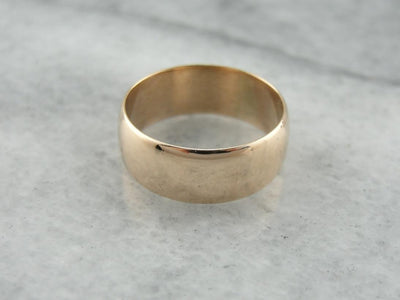Unisex Rose Gold Wedding Band, Bright Polish