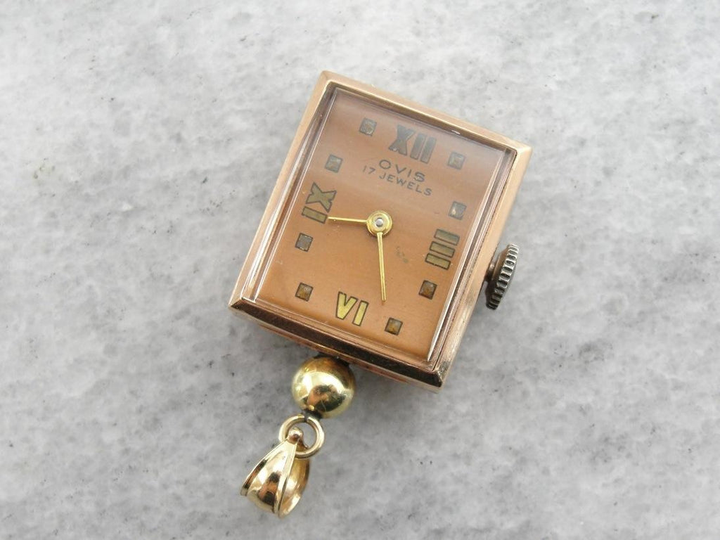 1950's Ovis Rose Gold Watch Pendant