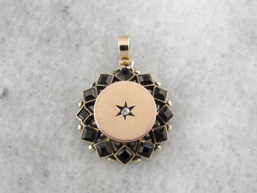 Antique Black Glass Mourning Pendant, Diamond Pendant in Rose Gold