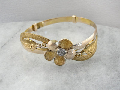 Textured Floral Gold Bangle Bracelet with Diamond Cluster