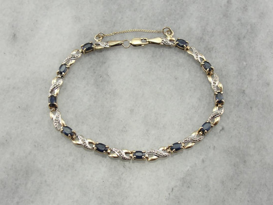 Timeless Sapphire and Diamond Tennis Bracelet with Infinity Links
