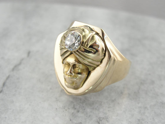 Unique Diamond Sultan Statement Ring, Man wearing Turban with Diamond