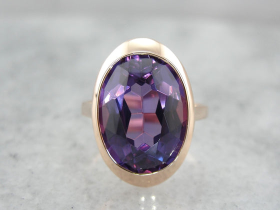Vintage Synthetic Alexandrite Cocktail Ring in Rose Gold Setting, Retro Era Finery