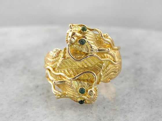 Emerald Dragon Statement Ring for Him or Her