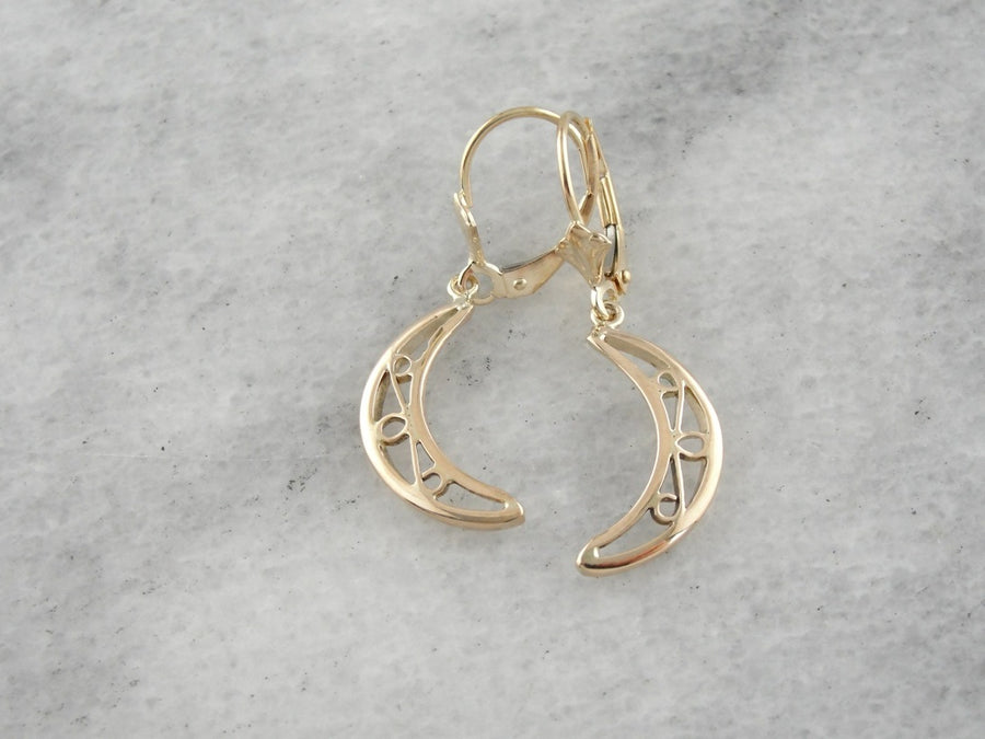 Yellow Gold Crescent Moon Drop Earrings with Lever Backs