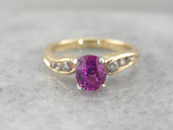 Asymmetrical Pink Sapphire Engagement Ring with Diamond Accented Shoulders