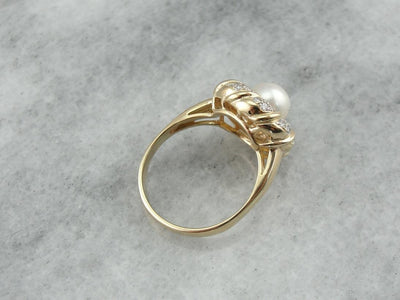 Modern White Pearl and Diamond Cocktail Ring