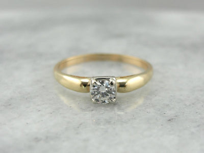 Classic Diamond Engagement Ring in Yellow and White Gold