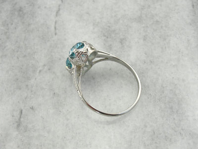 Incredible Art Deco, Double Blue Zircon Cocktail Ring in White Gold