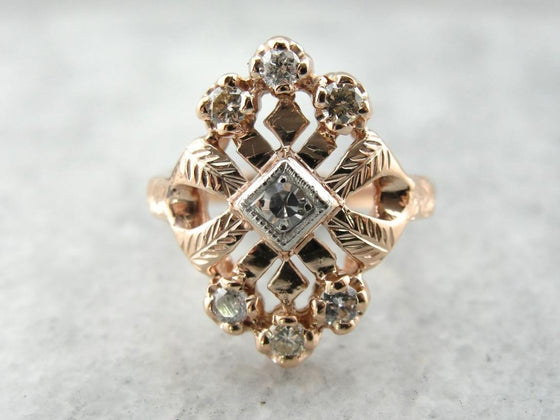 Retro Rose: 1940's Vintage Diamond Cocktail Ring in Rose Gold