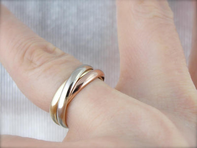 Rolling Colors: Rose, Yellow and White Gold Tricolor Band