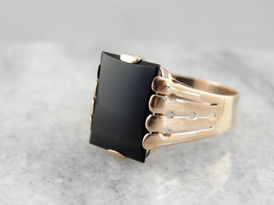 Antique Black Onyx Ring with Rose Gold Victorian Setting