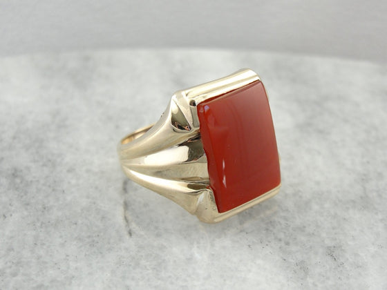 Retro Era Ring, Blood Orange Carnelian, Statement Men's or Ladies Cocktail Ring