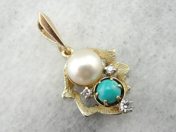 Pearl and Turquoise Howlite Greek Eye Marquise Pendant with Electroplated 24k Gold Cap and Edge S8B12-23