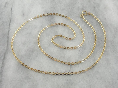 Classic Flats: Long Vintage Flat Round Rolo Link Chain
