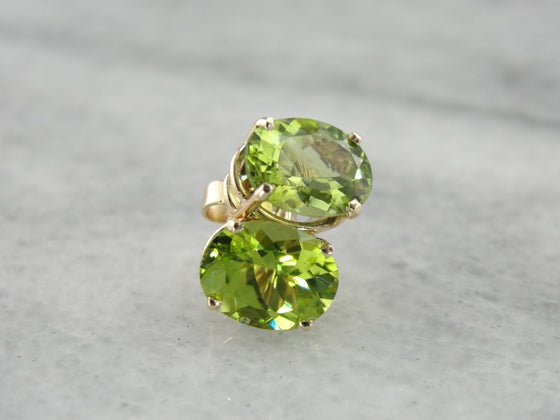 Peridot Stud Earrings in Yellow Gold, Bright Green Oval Stones