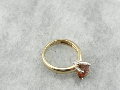 Golden Orange Sapphire, Rare Color Gemstone and Diamond Engagement Ring