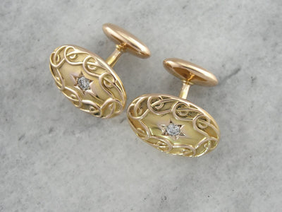 Dapper Victorian Era Diamond Cufflinks, Curling and Curving Motif