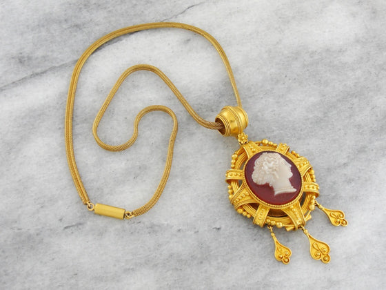 Ornate Hardstone Cameo Necklace, High Karat Gold Necklace