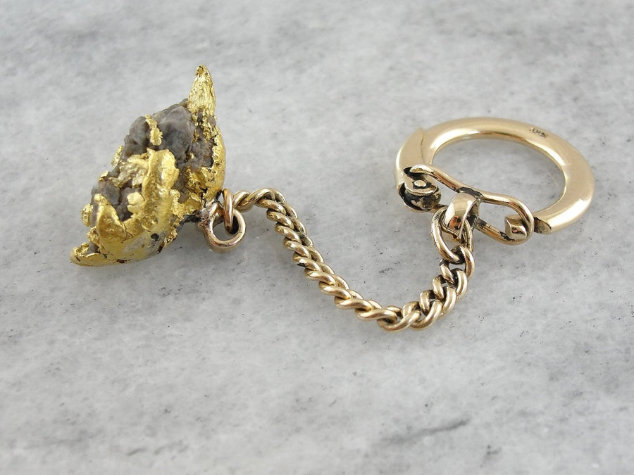 Pure Gold Nugget Fob Keychain