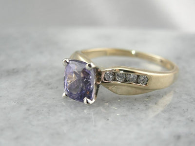 Periwinkle Purple Sapphire and Diamond Engagement Ring