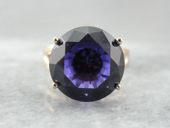 High Style Alexandrite and Gold Cocktail Ring from the 60's