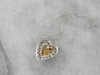 Love of Blossoms: Diamond Heart and Art Nouveau Flower Pendant with Original Antique Seed Pearl