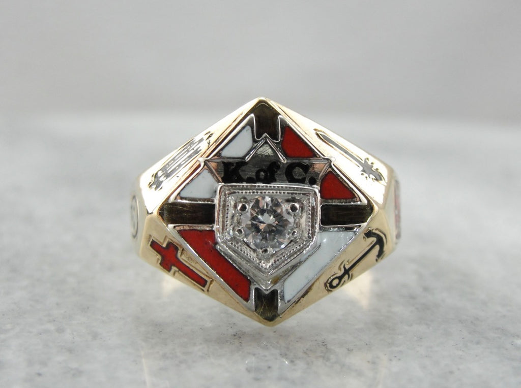 Diamond Enameled Knight of Columbus Men's Ring