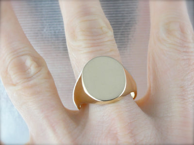 Substantial Signet Ring Crafted in Polished Yellow Gold