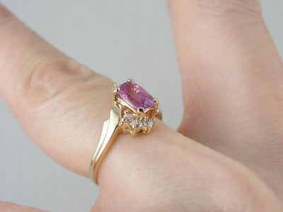 Pink Sapphire and Diamond Dinner Ring