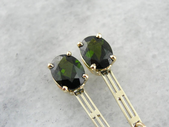Forest Green Tourmaline Drop Earrings with Art Deco Flair