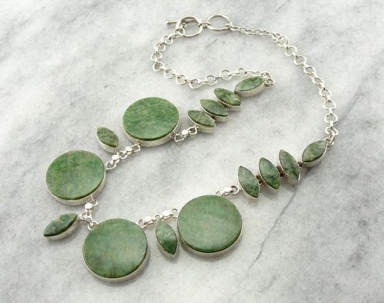 Circles and Marquise Cut Jade Necklace