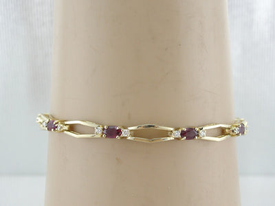Classic Diamond and Ruby Tennis Bracelet, Wear Alone or Layered