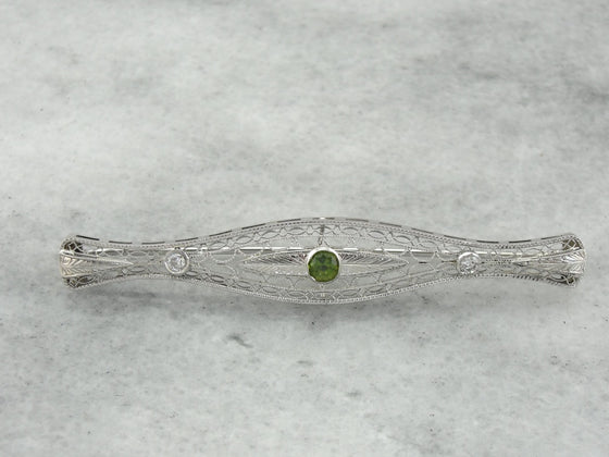 Edwardian Demantoid Garnet and Diamond Brooch, White Gold Filigree Bridal Jewelry