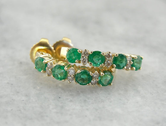 Emerald Half Hoop Earrings with Diamond Accents in Yellow Gold