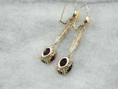 Grape Garnet and Antique Etched Gold Bar: Drop Earrings