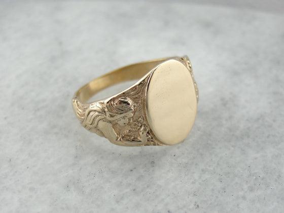 Art Nouveau Goddess Signet Ring in Yellow Gold, Classic Style Ready to Engrave