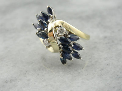 SO 80's! Marquise Madness, Sapphire and Diamond Cocktail Ring