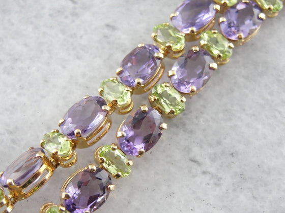 Peridot and Amethyst Gemstone Bracelet in Yellow Gold