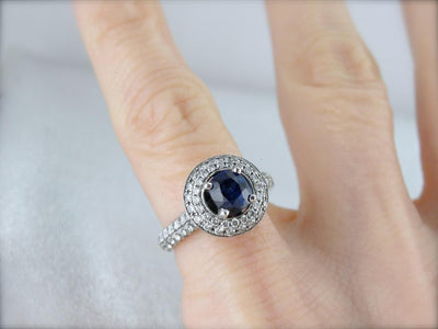 Contemporary Sapphire and Diamond Engagement Ring