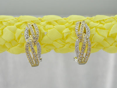 Elegant Diamond Encrusted Earrings, Modern Diamond Stud Earrings, Two Tone Diamond Earrings