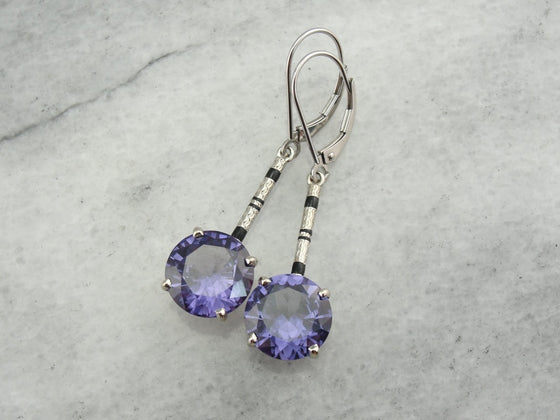 Vintage Alexandrite Drop Earrings with Art Deco, White Gold Elements