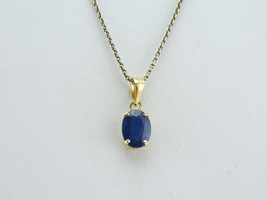 Navy blue oval sapphire pendant simple yellow gold solitaire gemstone navy blue oval sapphire pendant simple yellow gold solitaire gemstone drop aloadofball Image collections